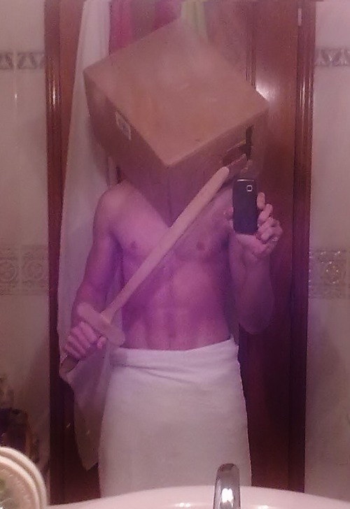 the-absolute-funniest-posts:  silenthill: me cosplaying pyramid headthe poor people's edition  My lovely followers, please follow this blog immediately!