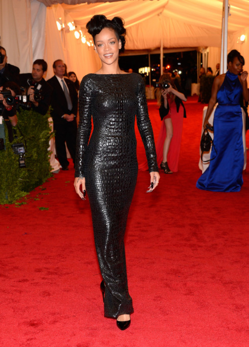 Rihanna wearing Tom Ford 2012 MET GALA