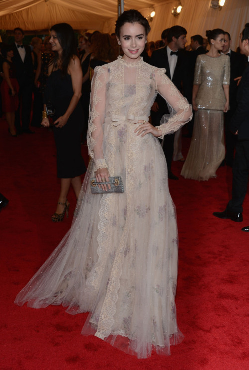 Lily Collins wearing Valentino at the 2012 MET GALA