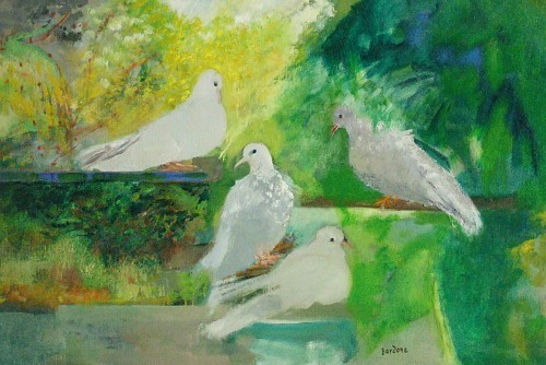 Guy Bardone White Pigeons 20th century
