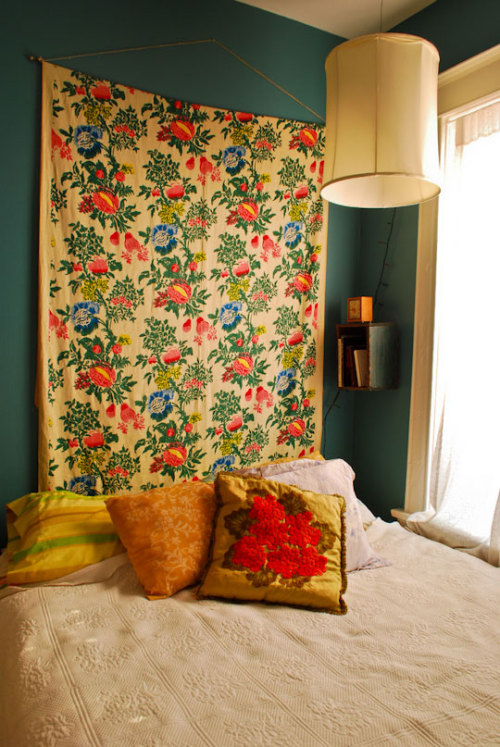 "(via Deep Teal Walls & Quilt ""Headboard"" in the Bedroom Roomarks 