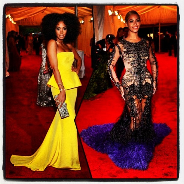 fashionablyrenovated:  #SisterSister #KilledIt #METBall2012 #Solange #Beyonce (Taken with instagram)  Both look AMAZING!!!!!