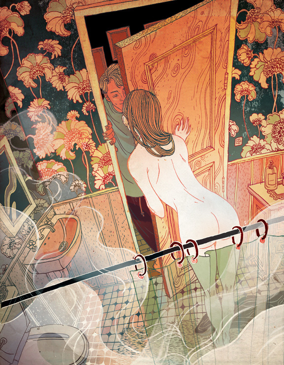 "victongai:  My first sensual experience with the New Yorker Victo Ngai  How often do one get to draw a full page sensual piece for the New Yorker magazine?I feel super luck-out being ask to illustrate this piece for the fiction ""Sweet Dreams"" by Peter Stamm. The story is about a young couple living together in Switzerland. This is the scene I was given to work on: She went to the bathroom, filled the tub, and got undressed. The mirror misted over with condensation, and the smell of pine needles filled the air. She turned off the water, and the apartment suddenly seemed very quiet. Then she heard footsteps, and Simon's voice through the half-open door. He said, I'll just go downstairs for the bottle of wine. I thought you'd gone already, said Lara, and she poked her head through the crack, and he kissed her on the lips and tried to barge the door open, but she held it shut. They kissed again. See you soon, said Lara. It was odd, she still felt a little ashamed in front of him. I had so much fun and I think this is one of my recent favorite works. Big big thanks to AD Jordan Awan and Chris Curry!!"