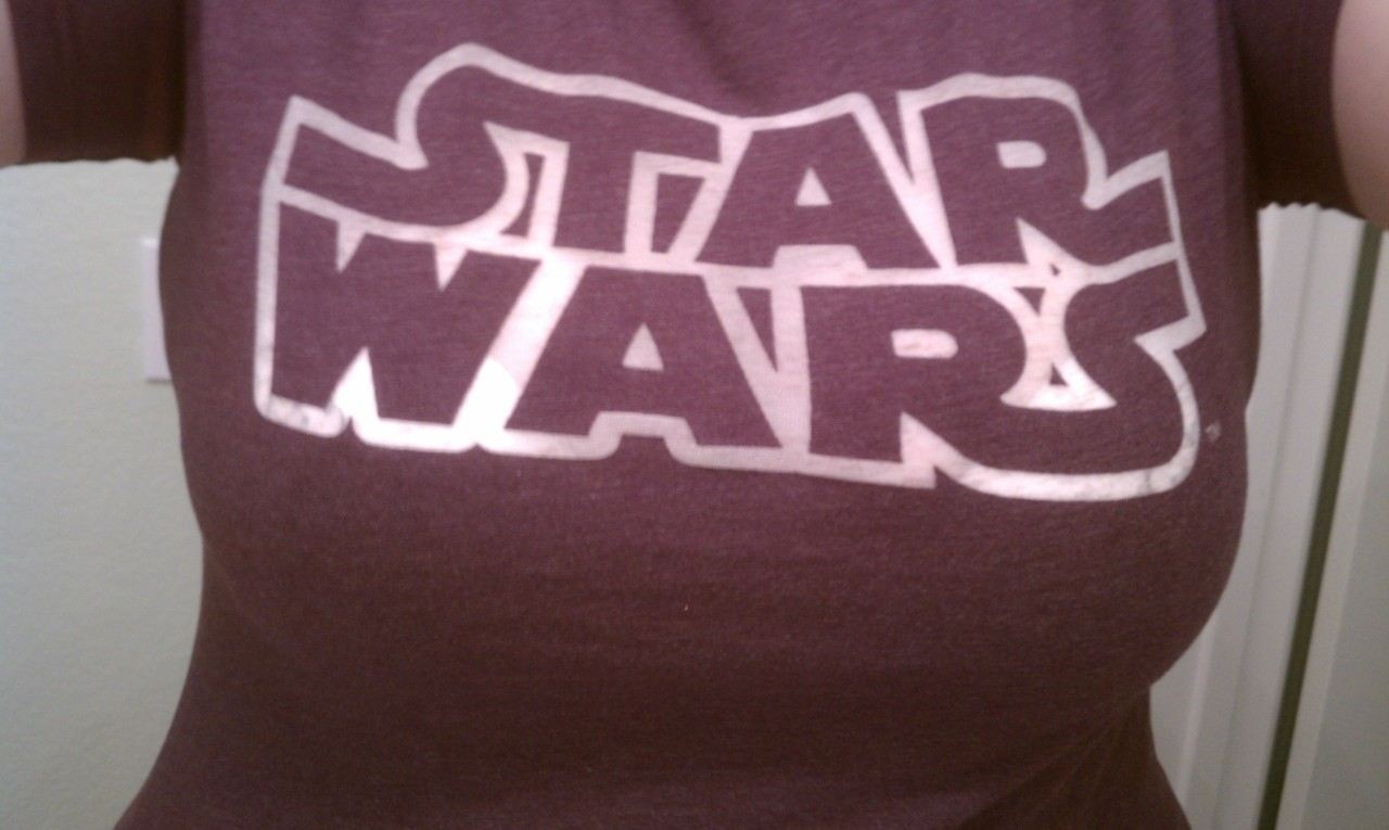 New Her Universe Star Wars shirt came in the mail today along with my free tote bag…. The burned out letters sure do show my bra, but whatever.