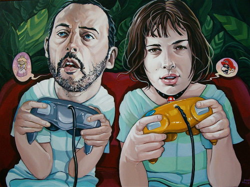 "gamefreaksnz:  ""Saving The Princess"" by ~davidmacdowell 18 x 24 Acrylic on Canvas! For an ""Old School Video Game"" show at Gallery 1988 Artist: Website 