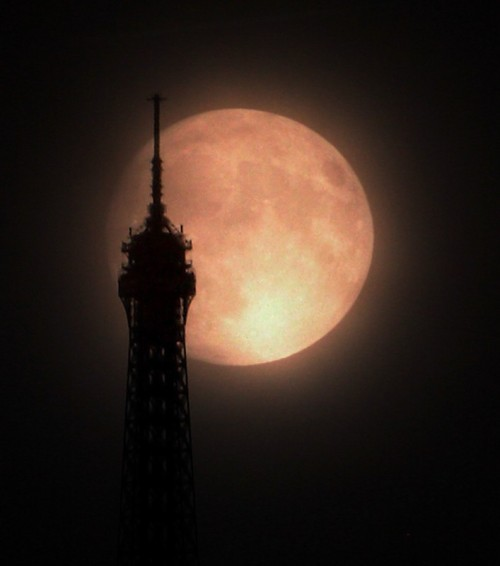 Supermoon over Paris