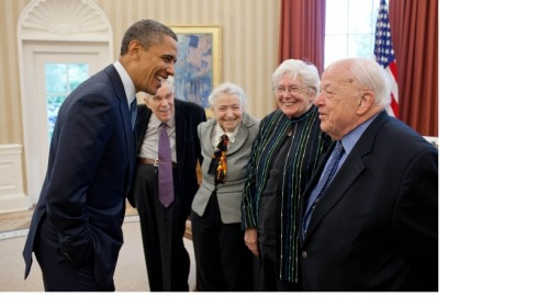 President Barack Obama greets Fermi Award recipients Dr Burton Richter, right, and his wife Laurose, and Dr Mildred S Dresselhaus, third from right, and her husband Gene, in the Oval Office, May 7. (Official White House Photo by Pete Souza)