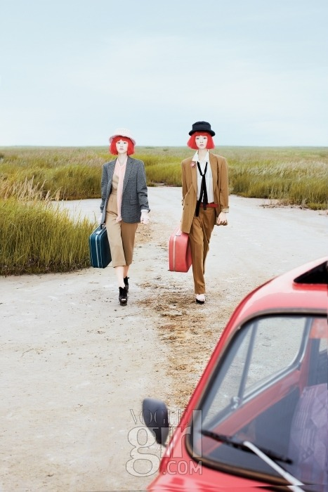 Vogue Girl Korea  Title: Red Girls Road Trip Models: Kang So Young & Choi Young Ji Photographer: Kim Bo Seong Make-up: Oh Mi Young Hair: Lee Eh Nok September 2009