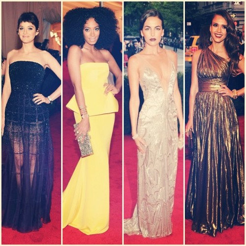 #metgala favorites [part 2] Marion in Dior, Solange in Rachel Roy, Camilla Belle in Ralph Lauren and Jessica Alba in Michael Kors. #fashion  (Taken with instagram)
