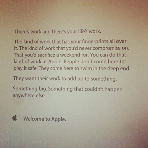 apparently this is the letter that you get your first day at Apple. Awesome.