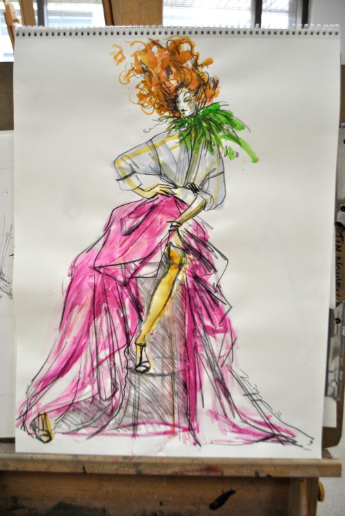 timtdesigns:  20 minute live model drawing study. watercolors and prisma