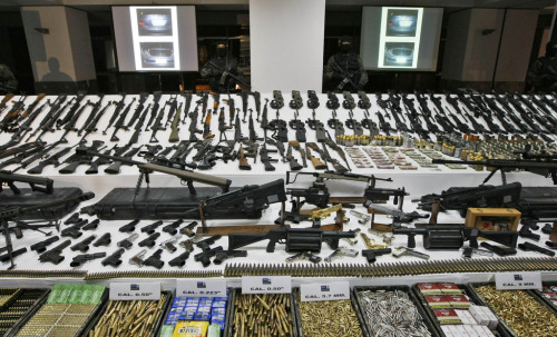 Weapons and ammunition seized during a raid on a Mexican drug cartel.