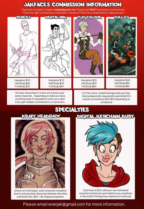 Finally! My commission information. Some people have been asking about it, and I've finally revised my prices and created this handy-dandy little chart. If you have inquiries or questions, please feel free to email me with the email address in the picture! Thanks!