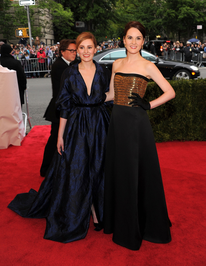 suicideblonde:  Laura Carmichael and Michelle Dockery (in Ralph Lauren) at the Costume Gala, May 7th These two showing up at the Gala was such a wonderful surprise.  They both look so beautiful.  LLLLLLADIES!