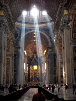 Crepescular rays at noon, St. Peters Basilica, Rome