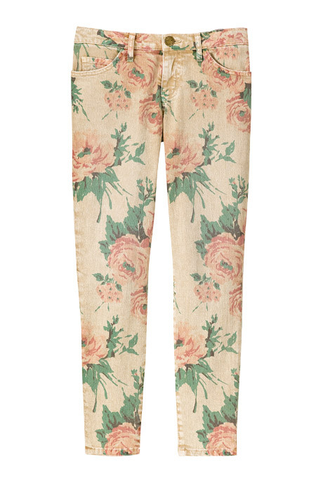 what-do-i-wear:  FLORAL-PRINT SKINNIES: Cotton and elastane stiletto jeans, Current/Elliott, $214, collection atbarneys.com (image: elle)