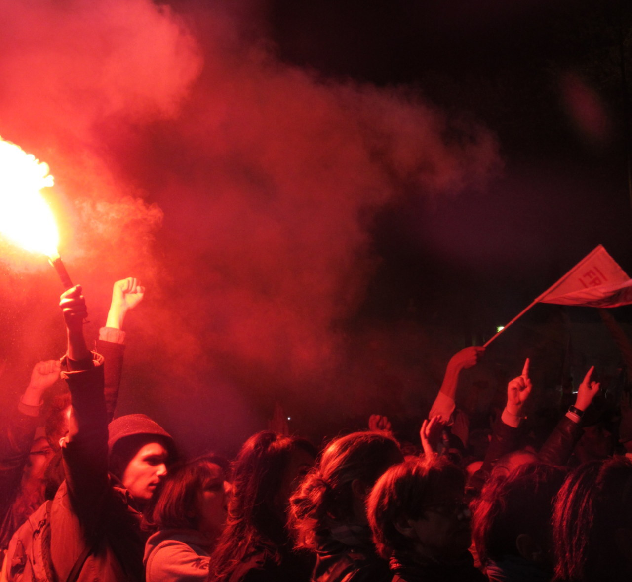 Red dawn at the Bastille: A flare lights up the crowd celebrating François Hollande's election as president of France the night of May 6, 2012.  Tracy McNicoll took this and more amazing shots you can see on Rues de Paradis. For her article on the elections and Hollande as the anti-Sarkozy, see The Daily Beast.