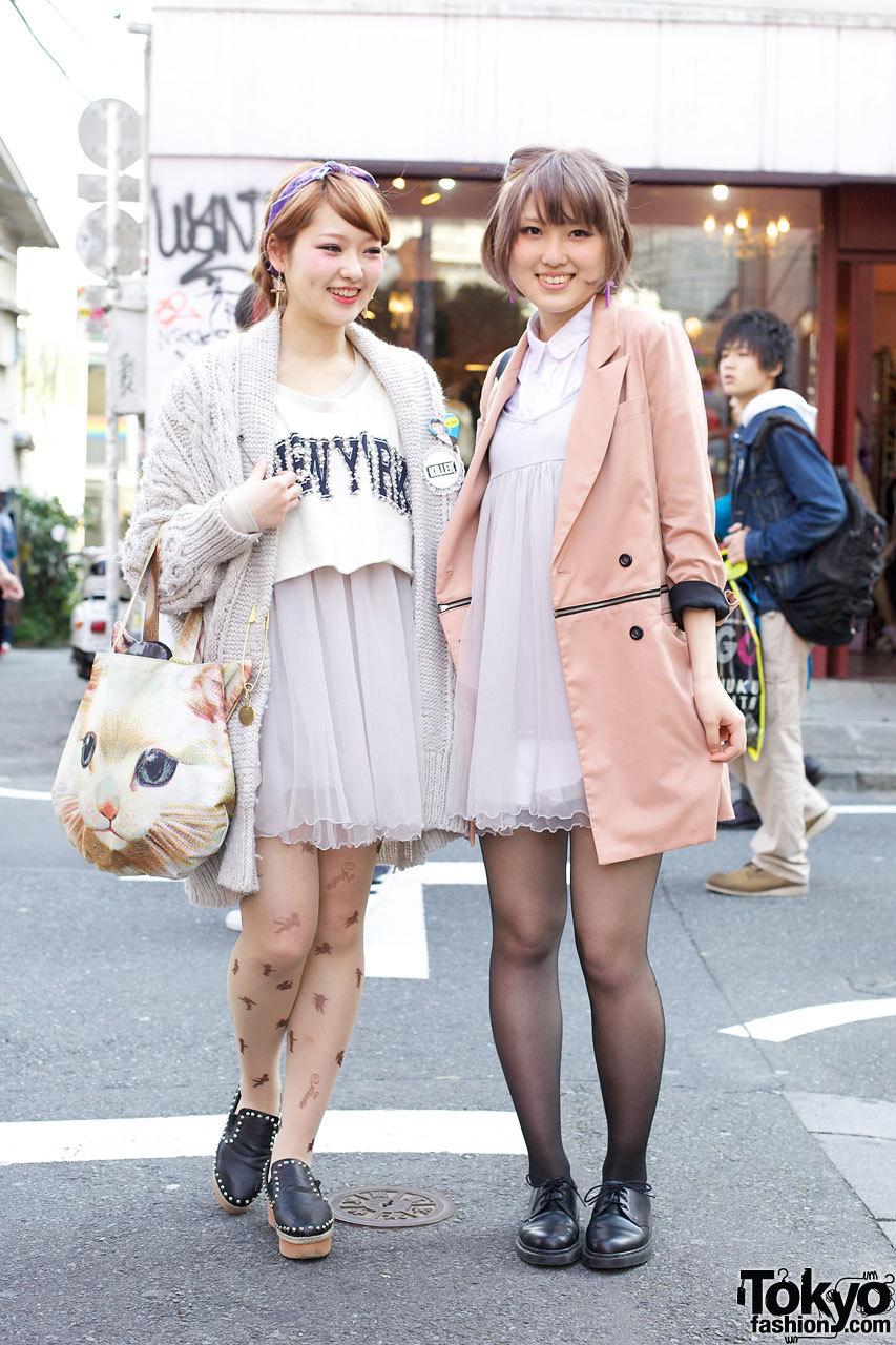 Two 20-year-old Japanese girls wearing Jouetie, Snidel & Gelato Pique in Harajuku.