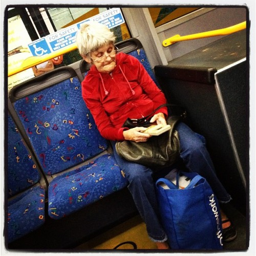 There is a nana on my bus playing an original game boy…. Shit is about to go down (Taken with instagram)