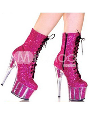 Platform Lace-Up Patent Leather Womens Sexy Boots