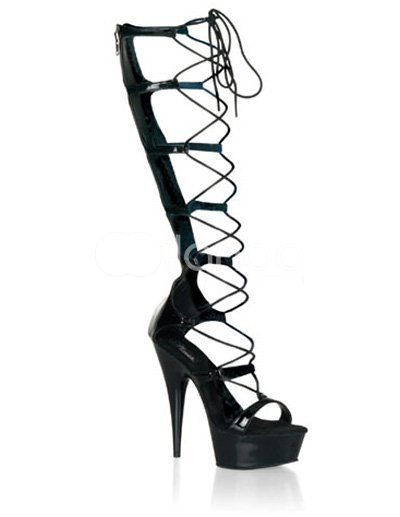 High Heel Black PU Lace Tie Sexy Platform Sandals :  black sexy platform sandals high heel