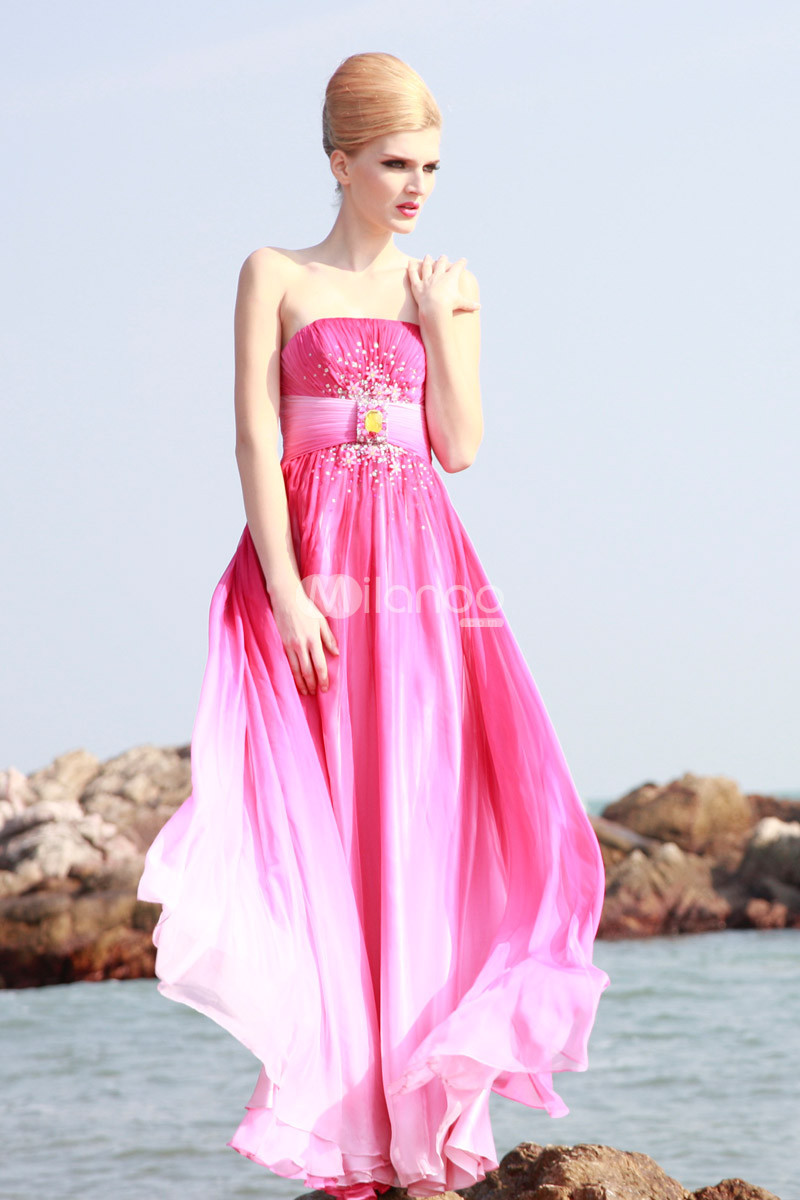 Fuchsia Strapless Floor Length Rhinestone Chiffon Womens Maxi Prom Dress :  chiffon floor length prom dress strapless