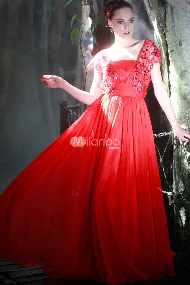 Red A-line Crewneck Lace Chiffon Womens Maxi Prom Dress