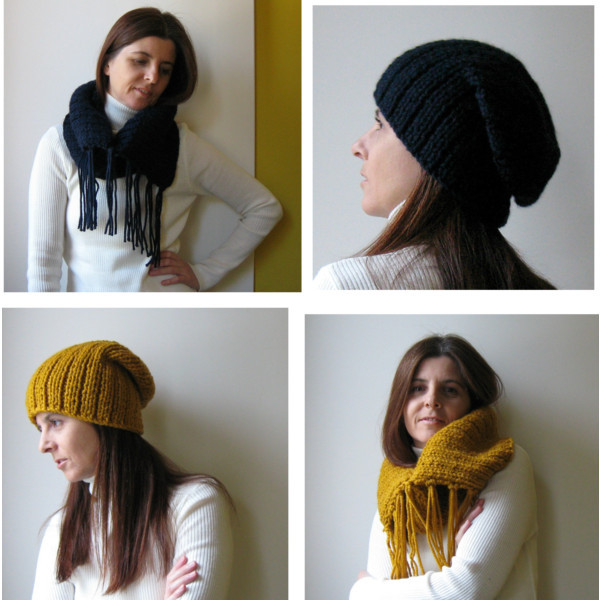 branda winter 2012 by marianaypaula  Yellow knit hat, $45cowl fringed navy blue knitted in blend wool by branda on Etsy, $65cowl fringed chunky yellow knitted in blend wool by branda, $65hat slouchy navy blue knitted in blend wool by branda on Etsy, $45