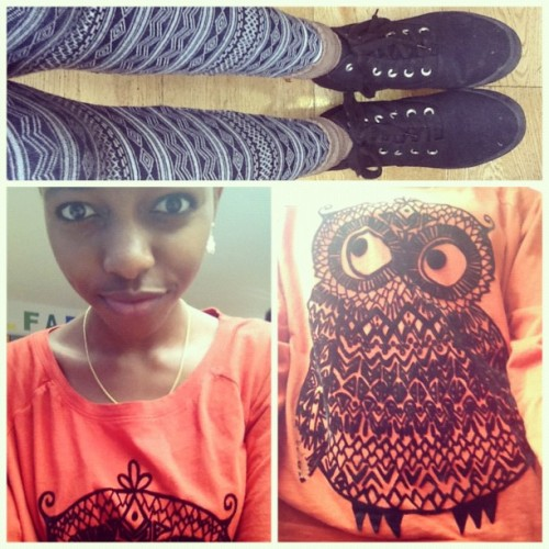 #picstitch Day 4 #SomethingOrange. Say hi to my owl ^_^.  River Island Owl Jumper. It was either this, a maxi skirt, culottes or a crop top. I wasn't in the mood for anything else.  (Taken with instagram)
