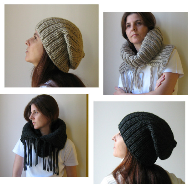 winter 2012, neutral colors by marianaypaula  khaki chunky cowl with fringes knitted in blend wool by branda, $65Khaki hat, $45Knit slouch hat, $45chunky cowl with fringes charcoal knitted in blend wool by branda, $65