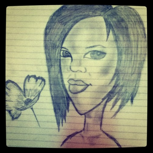 The cartoon sketch of Rihanna I did in my BIS class  #instagram #sketch #drawings #art #Rihanna #photography   (Taken with instagram)