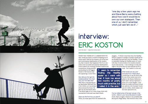 Eric Koston article design for TBB Skate Mag, May 2011.