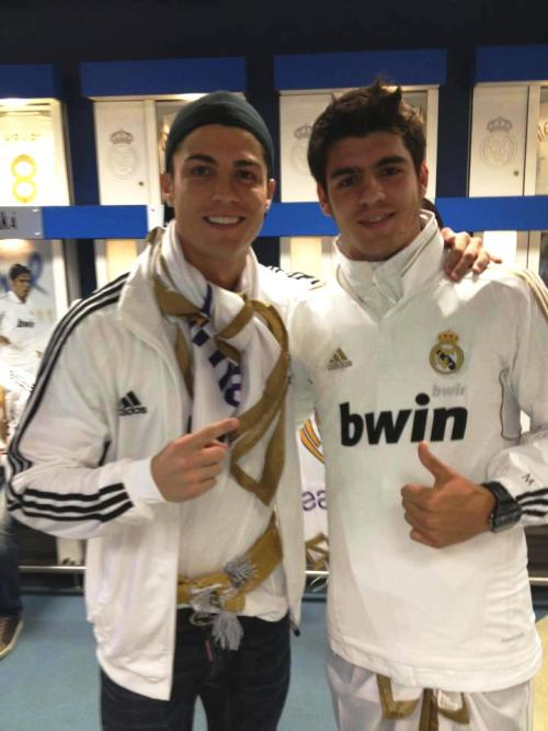 moratacentral:  Álvaro Morata with his idol Cristiano.