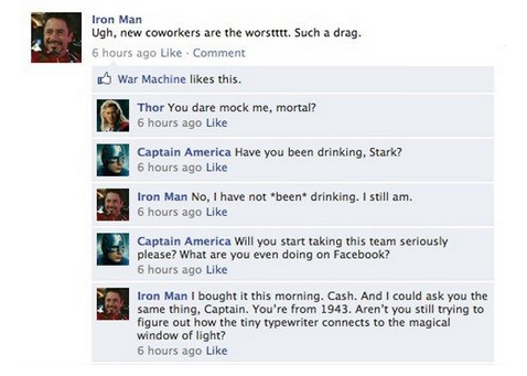 Iron Man on Facebook.