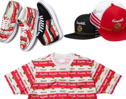 "SUPREME X VANS ""CAMPBELL'S SOUP"" COLLECTION.  While the Campbell's Soup label has been part of the American landscape for over 100 years, it wasn't until Andy Warhol's work in the 1960′s and 70′s that the brand's image became deeply ingrained into the psyche of the American consumer. Two more modern, but equally respected U.S. brands, Supreme and VANS, teamed up to honour the motif."