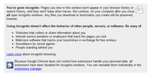 Google Chrome incognito web service. Beware of secret agents. Oh chrome!
