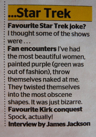 "slash-o-matic:  Favourite Kirk Conquest? ""Spock, actually!"" Detail from an interview with William Shatner Shatner was in on it the whole time. Heck, it was probably his idea… from this livejournal post by T'Racionn - go look at the whole interview"