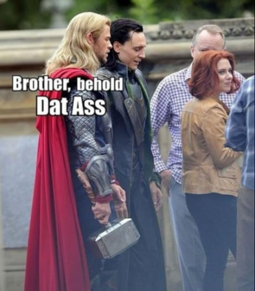 bigtimeavengers:  Dat Ass ;) credits to whoever made the photo :)  Let us set aside our petty squabbles and claim it in the name of ASGARD!