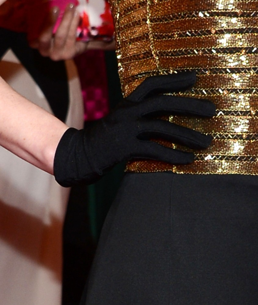 The glove. Michelle Dockery in Ralph Lauren @ the Met Ball, NYC.