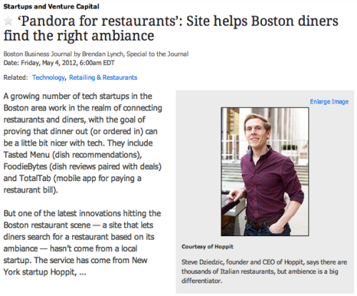 "Hoppit makes it into the Boston Business Journal as the ""Pandora for Restaurants."""