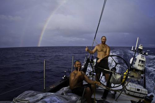 Double thumbs up for a double rainbow aboard Abu Dhabi Ocean Racing's Azzam from Wade Morgan and Craig Satterthwaite. (Credit: Nick Dana/Abu Dhabi Ocean Racing/Volvo Ocean Race)
