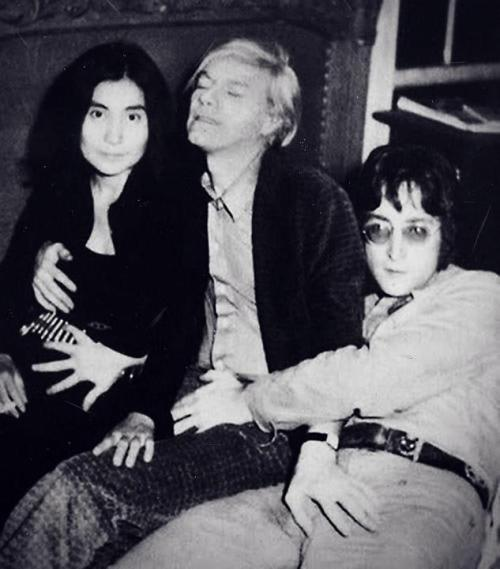 Andy Warhol with John Lennon and Yoko Ono.