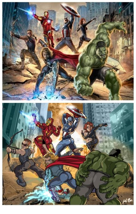 "Caption: ""What if the superheroes in Avengers had to pose like the lone heroine?""   Look - in the sky!  Is it a bird?  Is it a plane?   NO!  It's feminism and comic books!"