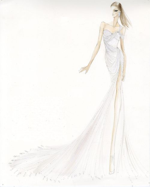 dknyprgirl:  The sketch before the gown. Ashley Greene's #DonnaKaranAtelier gown inspiration- #MetGala  The sketch is prettier than the actual dress, IMO.