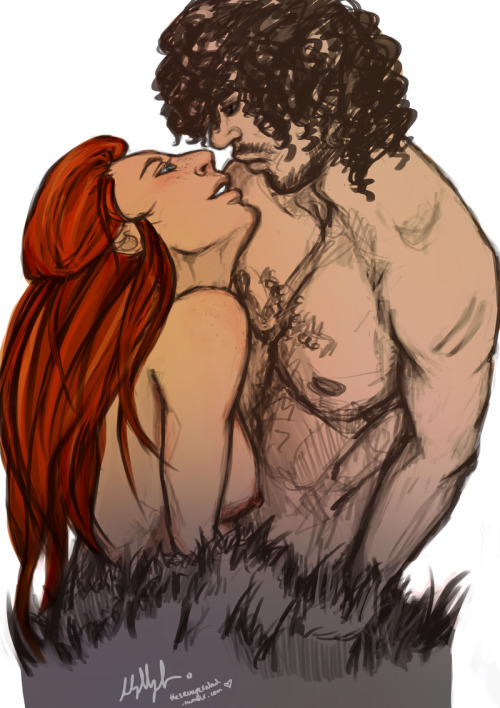 thesavagesalad:  saladsliketodrawshit:  You Know Nothing- Jon x Ygritte by ~the-savage-salad i'm sorry i'm still sobbing over how perfect Ygritte is and how socially awkward Jon Snow is ;-; art by me done in PS CS5  and done <3