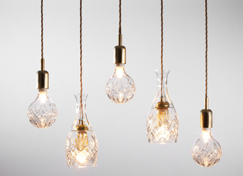 These exposed bulbs are so luxe!  Crystal bulbs by Lee Broom