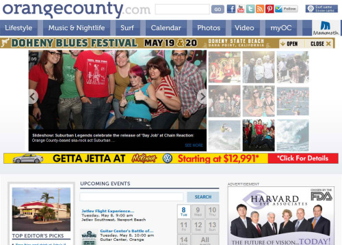Over the weekend we were on the front page of OrangeCounty.com after attending Suburban Legends' Day Job Record Release Party at the Chain Reaction. We had a pretty great night.