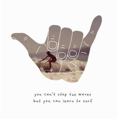 """You can't stop the waves but you can learn to surf.""- unknown"