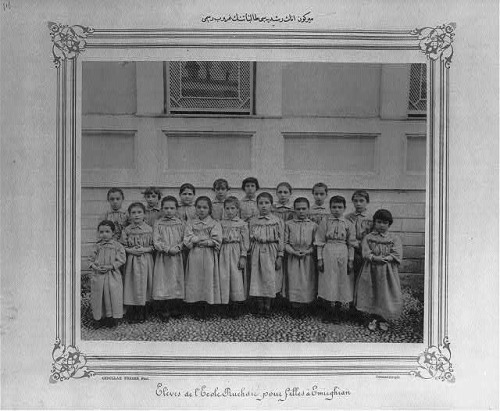 (Library of Congress) - Group Photograph of the Students of the Mirgun (Emirgan) School for Girls, from the Abdul Hamid II Collection.