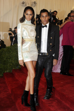 labellefabuleuse:  Joan Smalls in Balmain and Olivier Rousteing at the Met Gala, May 2012